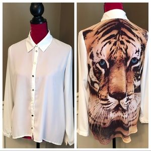 Forever 21 Sheer Blouse with Tiger Face on Back